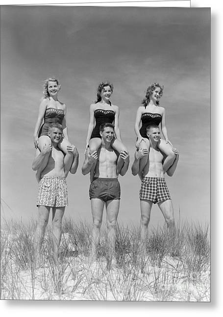 Beach Balancing Act, 1950s-60s Greeting Card by H. Armstrong Roberts/ClassicStock
