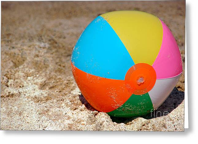 Beach Ball On Sand With Copy Space Greeting Card