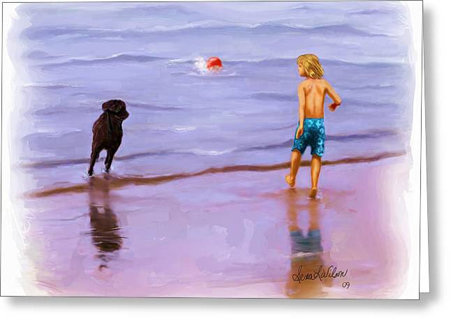 Greeting Card featuring the painting Beach Ball Race by Sena Wilson