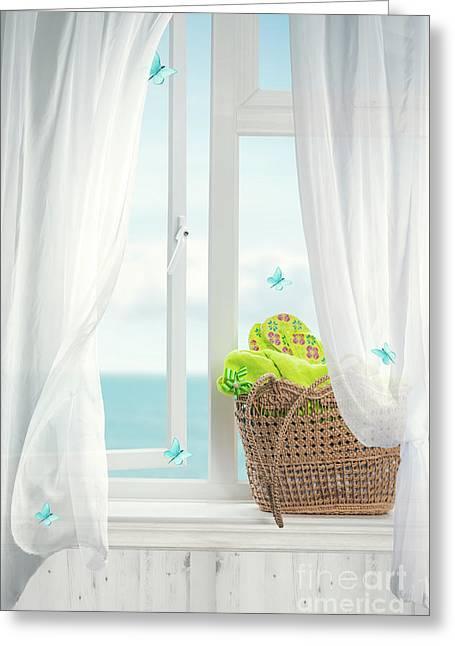 Beach Basket In Window Greeting Card