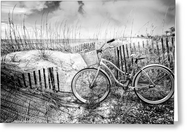 Beach Bike At The  Dunes In Black And White Greeting Card by Debra and Dave Vanderlaan