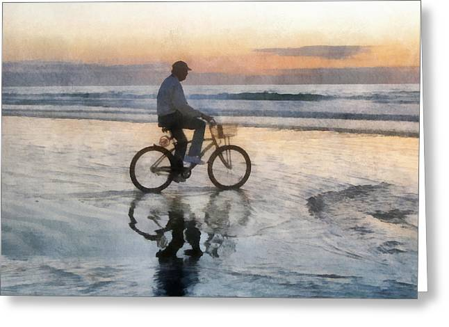 Beach Biker Greeting Card by Francesa Miller