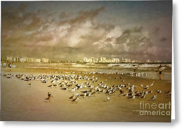 Beach Birds Surfers And Waves Greeting Card by Deborah Benoit