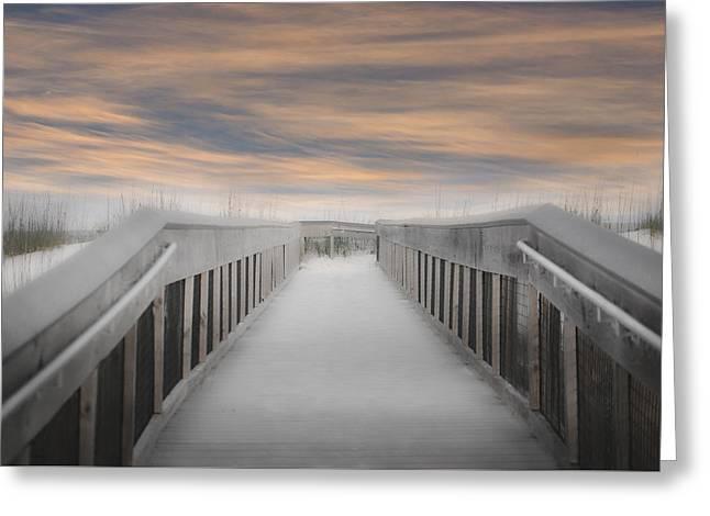 Greeting Card featuring the photograph Beach Boardwalk by Judy Hall-Folde