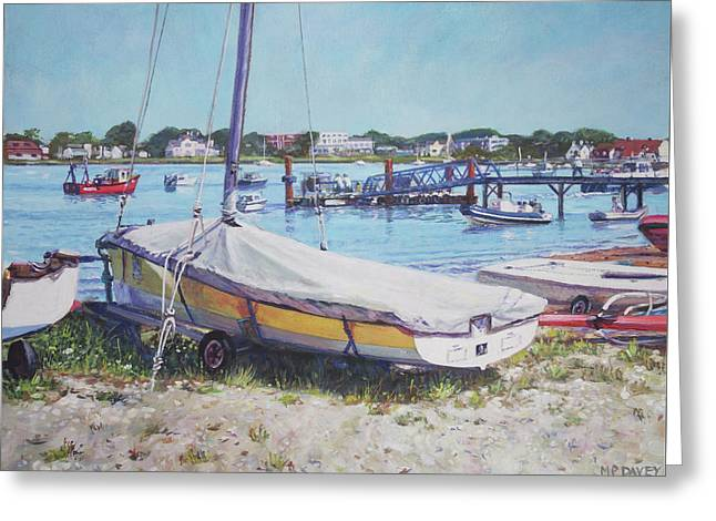 Greeting Card featuring the painting Beach Boat Under Cover by Martin Davey