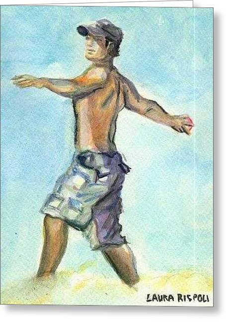Beach Boy Greeting Card by Laura Rispoli