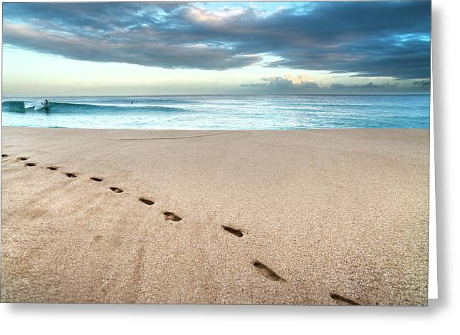 Beach Break Footprints Greeting Card by Sean Davey