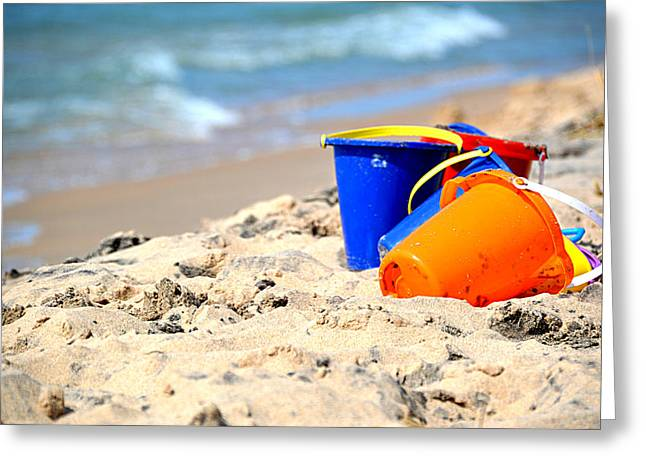 Greeting Card featuring the photograph Beach Buckets by SimplyCMB