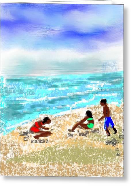 Greeting Card featuring the digital art Beach Buddies  by Elaine Lanoue