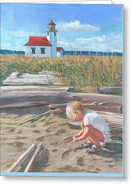 Beach By Lighthouse Greeting Card by Nick Payne