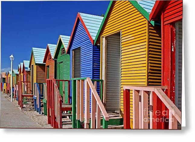 Beach Cabins, South Africa Greeting Card