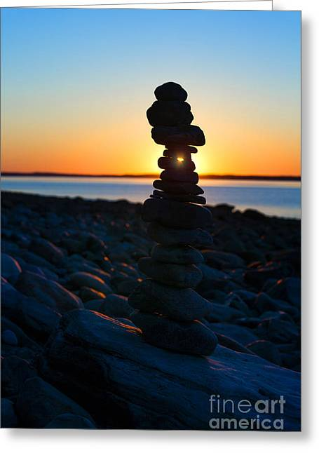 Beach Cairn At Sunrise Greeting Card by Diane Diederich