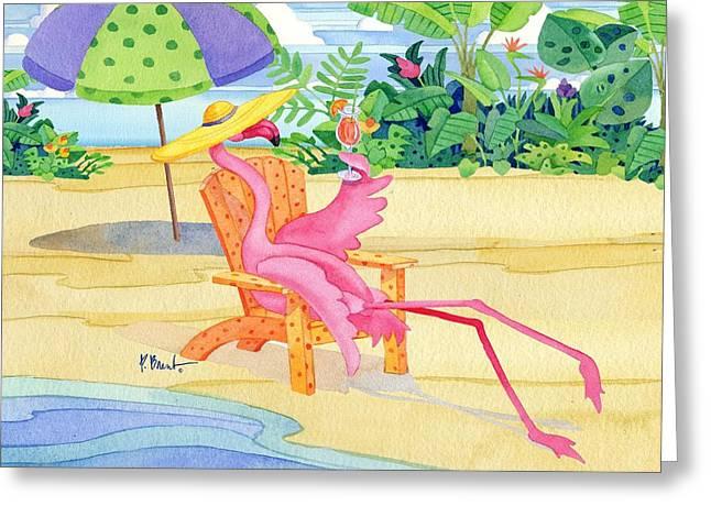 Beach Chair Flamingo Greeting Card by Paul Brent