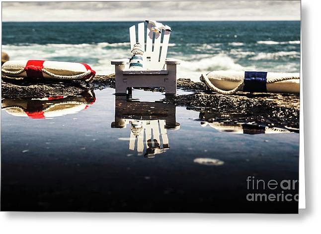 Beach Chairs And Rock Pools Greeting Card
