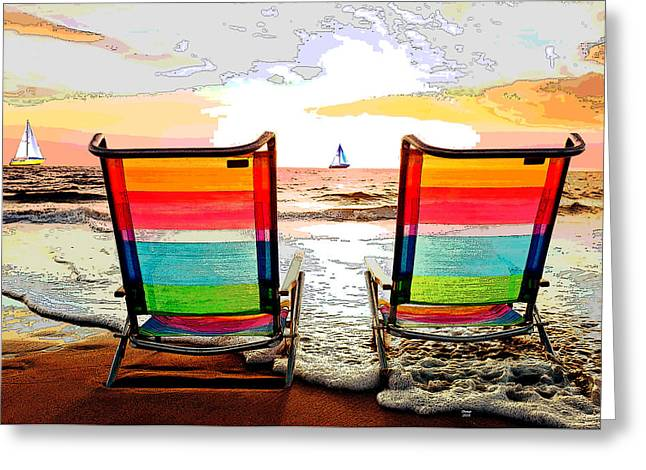 Beach Chairs At Sunset Greeting Card