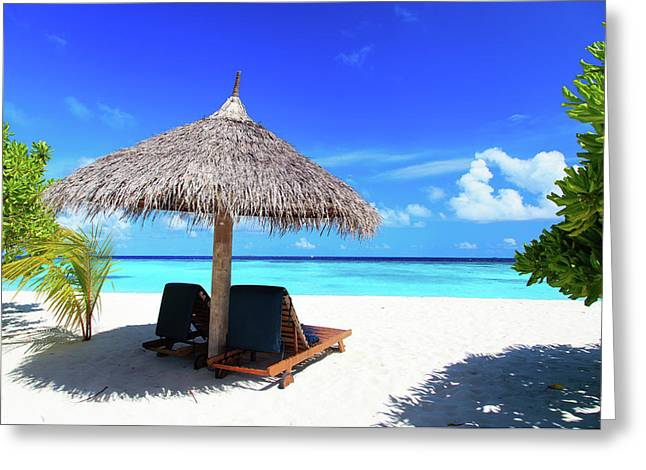 Beach Chairs On The Tropical Beach Greeting Card by NadyaEugene Photography