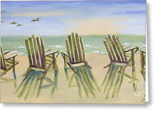 Mo Artist Paintings Greeting Cards - Beach Chairs Relaxing Greeting Card by Vic  Mastis
