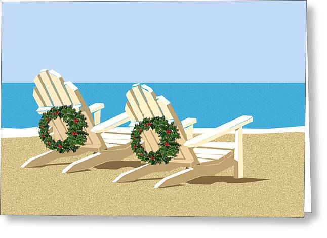 Beach Chairs With Wreaths Greeting Card