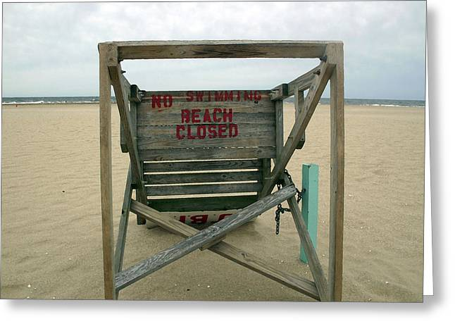 Beach Closed Greeting Card by Mary Haber