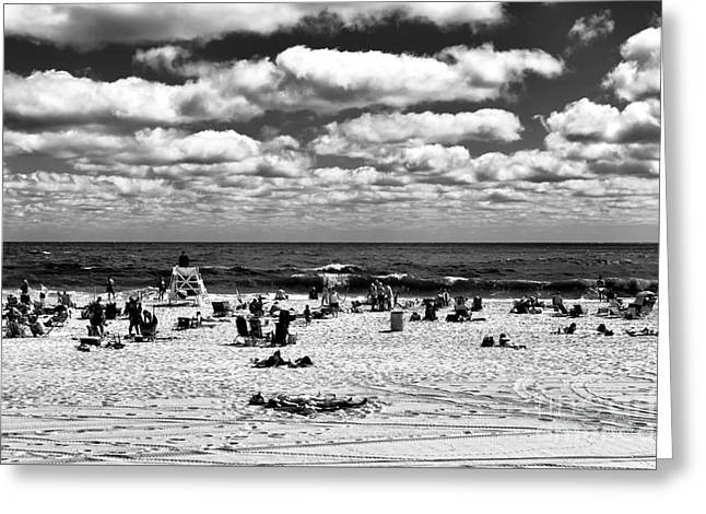 Beach Clouds At Seaside Heights Mono Greeting Card by John Rizzuto