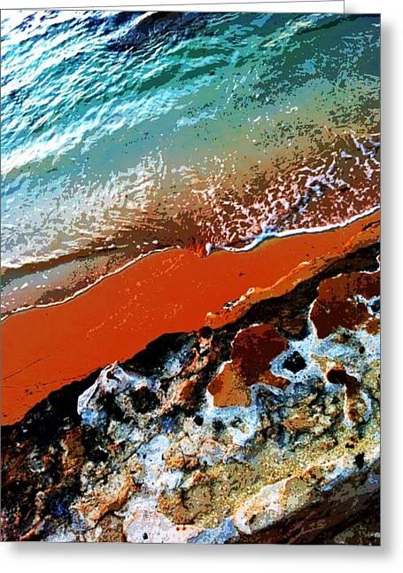 Beach Collage Greeting Card by Erika Swartzkopf