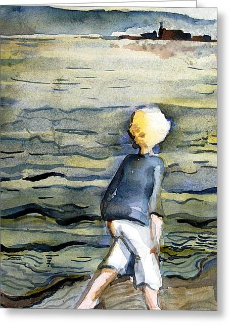 Beach Comber Greeting Card by Mindy Newman
