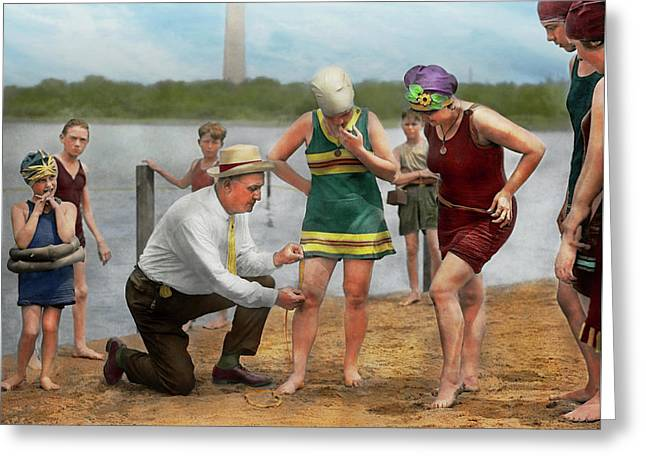 Beach - Cop A Feel 1922 Greeting Card by Mike Savad