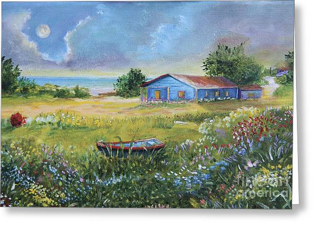 Beach Country House, 8x10in. Greeting Card by Alicia Maury
