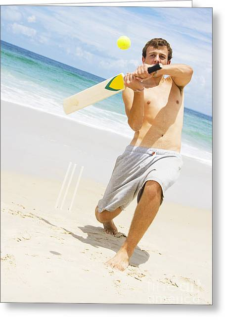 Beach Cricket Slog Greeting Card by Jorgo Photography - Wall Art Gallery