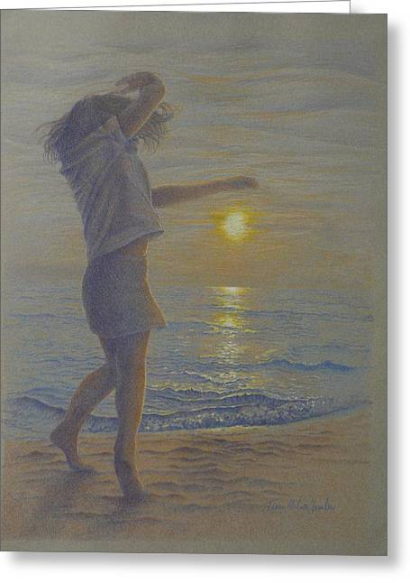 Beach Dance, Young Girl Dancing In The Sand On The Beach At Sunset Greeting Card