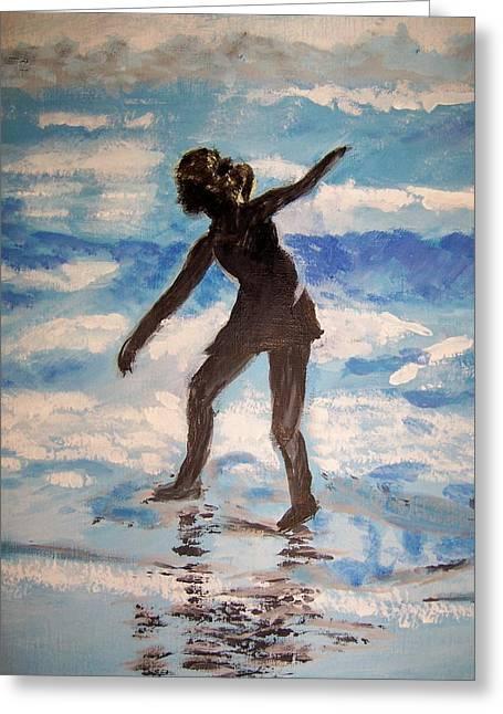 Beach Dancer Greeting Card by Ann Whitfield