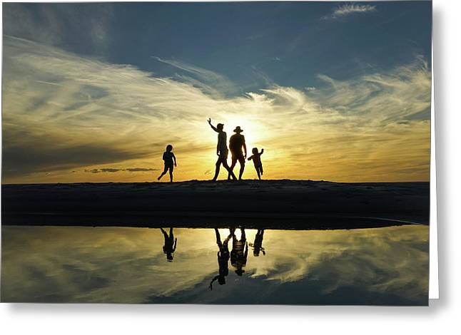 Beach Dancing At Sunset Greeting Card