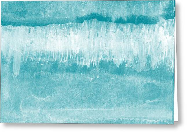 Beach Day Blue- Art By Linda Woods Greeting Card