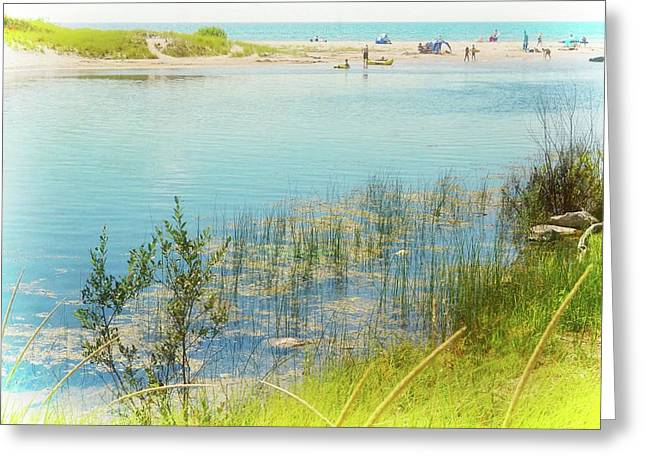 Beach Day In August Greeting Card by Michelle Calkins
