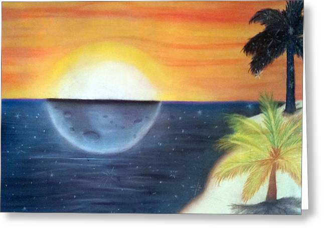 Day Night Beach Greeting Card by Tabitha Lemus