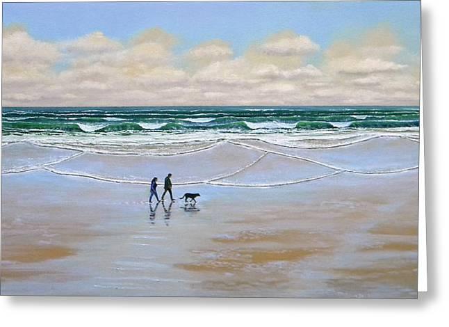 Beach Dog Walk Greeting Card by Frank Wilson