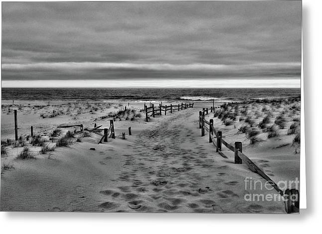 Beach Entry In Black And White Greeting Card by Paul Ward