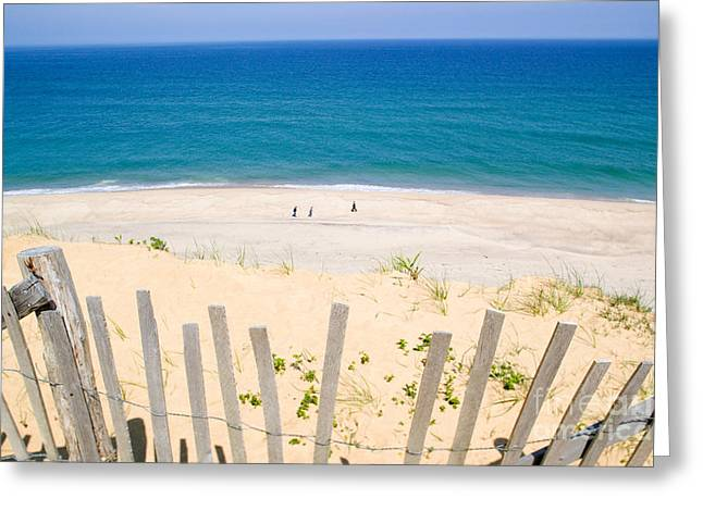 beach fence and ocean Cape Cod Greeting Card