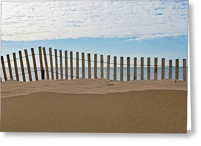 Beach Fence Greeting Card by Maria Dryfhout