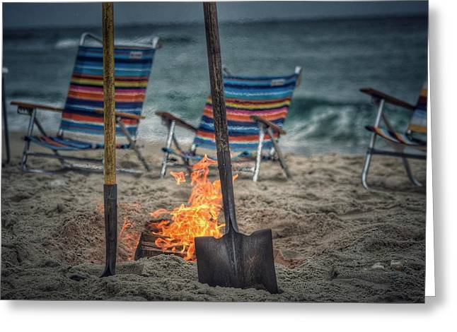 Beach Fire Greeting Card by Shelley Smith