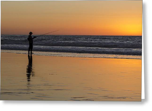 Beach Fishing At Sunset Greeting Card