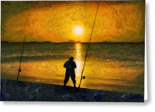 Greeting Card featuring the photograph Beach Fishing  by Scott Carruthers
