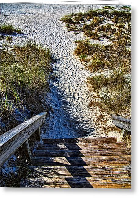 Beach Footprints - Boca Grande Florida Greeting Card by Jon Berghoff