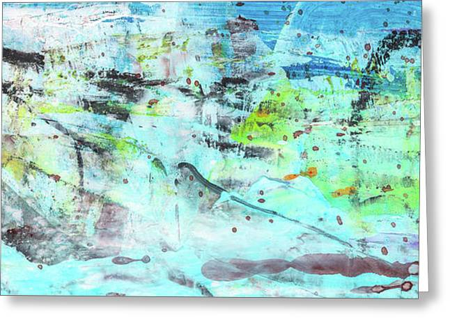 Beach Fun Art - Splash Blue Abstract Painting Greeting Card