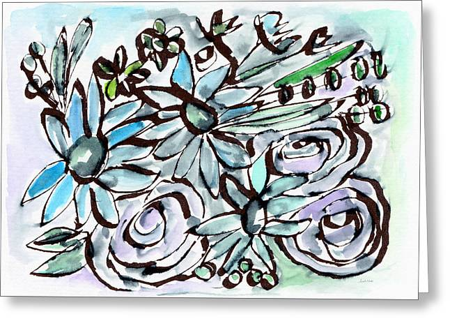 Beach Glass Flowers 2- Art By Linda Woods Greeting Card