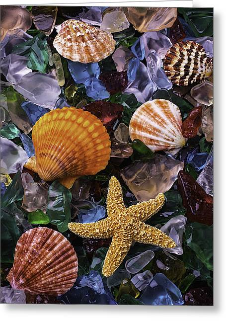 Beach Glass With Starfish Greeting Card by Garry Gay