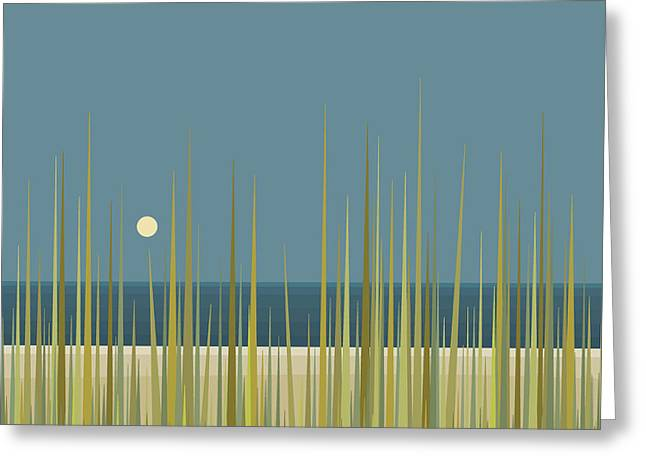 Beach Grass And Blue Sky Greeting Card by Val Arie