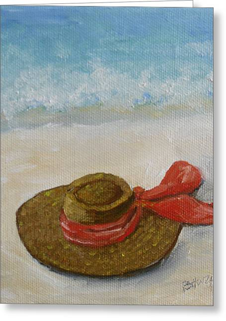 Beach Hat In The Sand Greeting Card by Barbara Harper