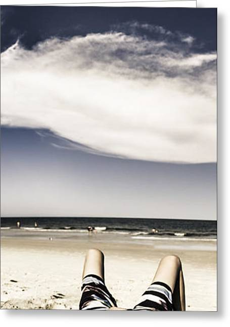 Beach Holiday Man Vertical Panorama Greeting Card by Jorgo Photography - Wall Art Gallery