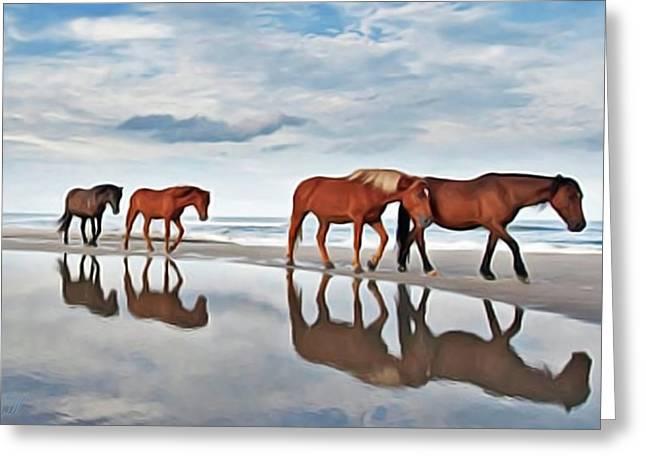 Beach Horses Greeting Card